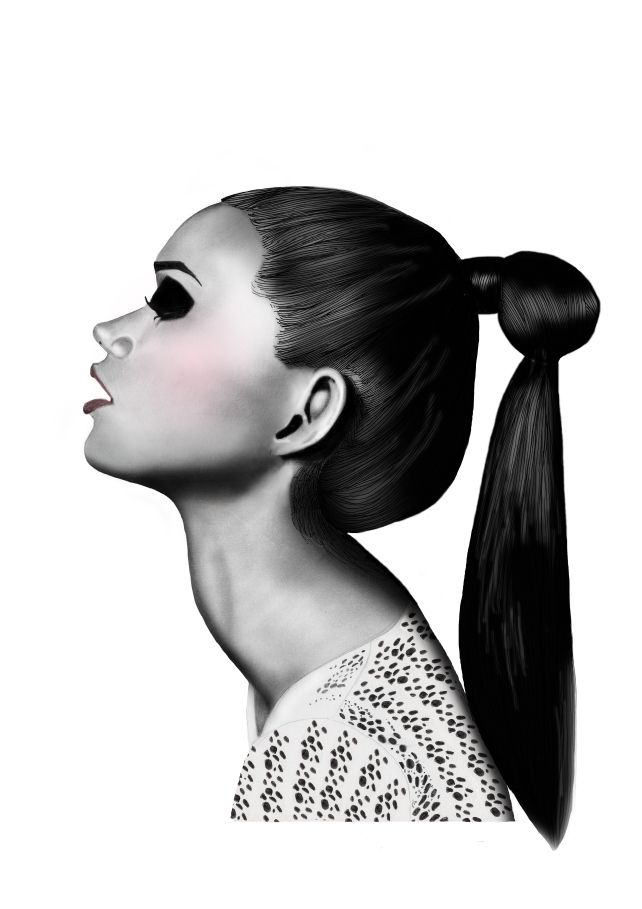 Fashion illustration 'ponytail' by BeckiBoos