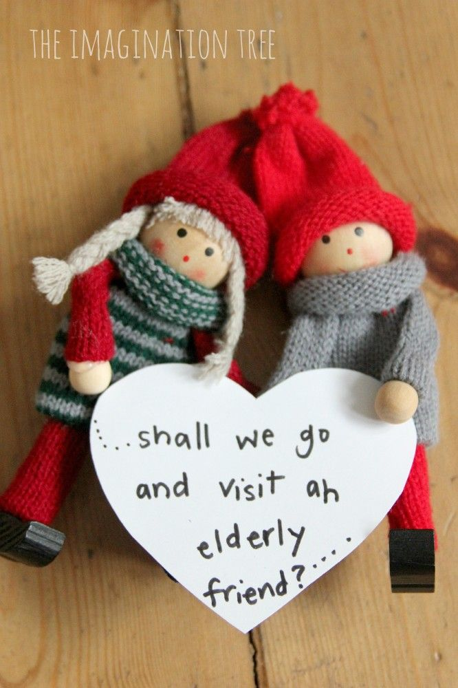 Kindness Elves: an alternative to Elf on the Shelf. Not sure if I'd actually do this, but it's a cute idea.
