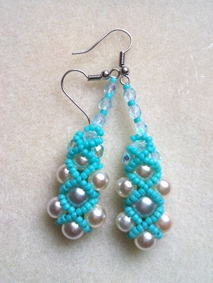 Turquoise bead earrings Gift for Her elegant by Mammybluebeads