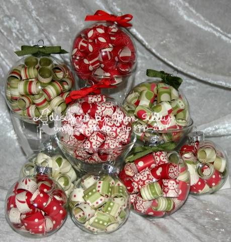 Curled paper glass ornaments by jami cards and paper for Clear ornament craft ideas