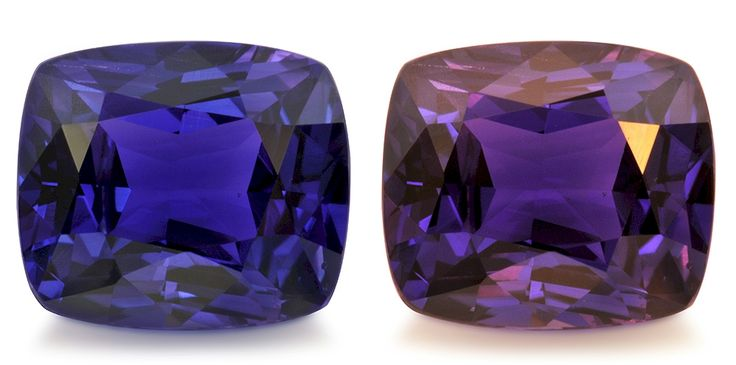 This 1.80 carat Ceylon indigo-purple-blue color change Sapphire cushion contains a fine fingerprint inclusion and some very minor zoning visible with magnification only, but color is considered to be in the top range for sapphires and it displays a good color change to purple under incandescent light.