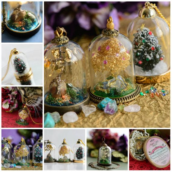 Custom Terrarium Necklace, 14k Gold Family Necklace, Personalised Birthstone Tree of Life Pendant on Etsy, $253.36