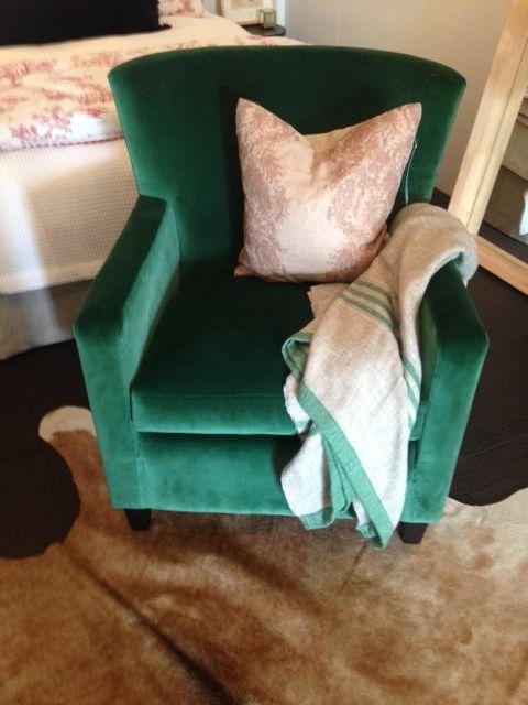 Emerald Green velvet chair, NZ made