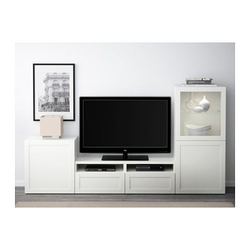 BESTÅ TV storage combination/glass doors - Hanviken/Sindvik white clear glass, drawer runner, push-open - IKEA