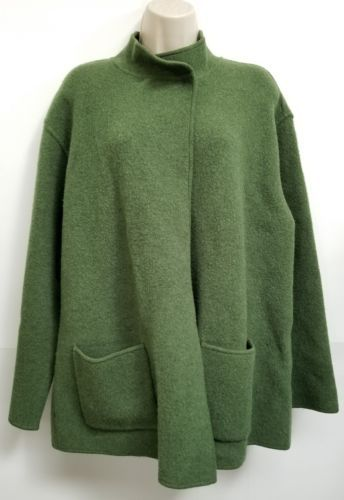 Eileen Fisher Poncho Sweater Womens M Green Lambswool Cotton Double Button