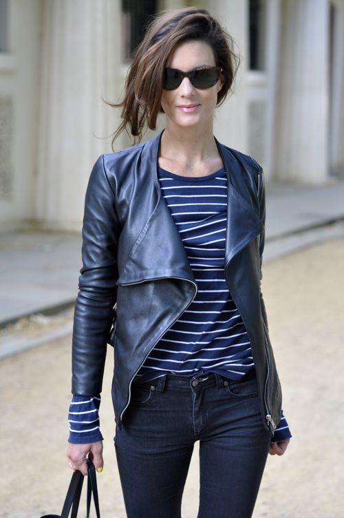 .Black Leather Jackets, Biker Jackets, Fashion Style, Outfit, Northern Lights, Blue Leather, Navy, Stripes, Black Jeans