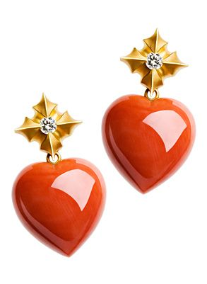 Fochtmann Coral & Diamond Earrings