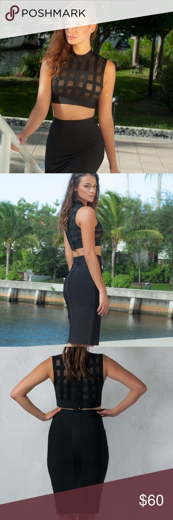 Black Bodycon Top N' Skirt Set Mesh and bandage crop  bodycon top. High waisted bodycon skirt. Perfect fit. Seamless zipper at back of top and skirt. Dresses Midi