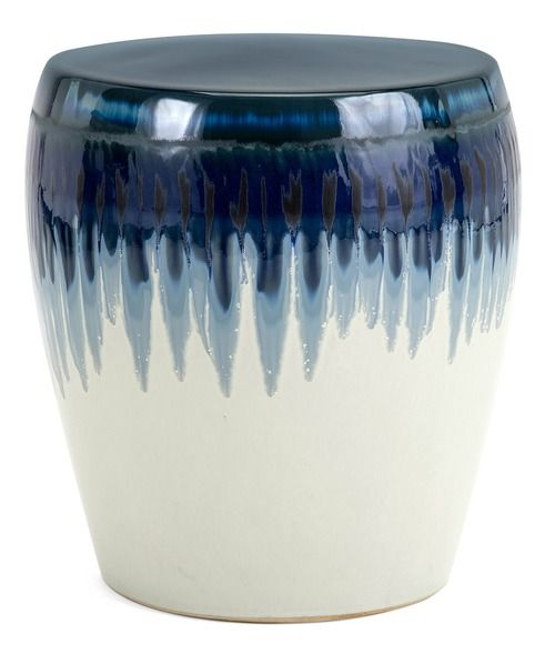 """Add a touch of ocean blue to your seaside escape with the 15.5"""" tall Hamako Ceramic Garden Stool in a dripped ombre blue glaze."""