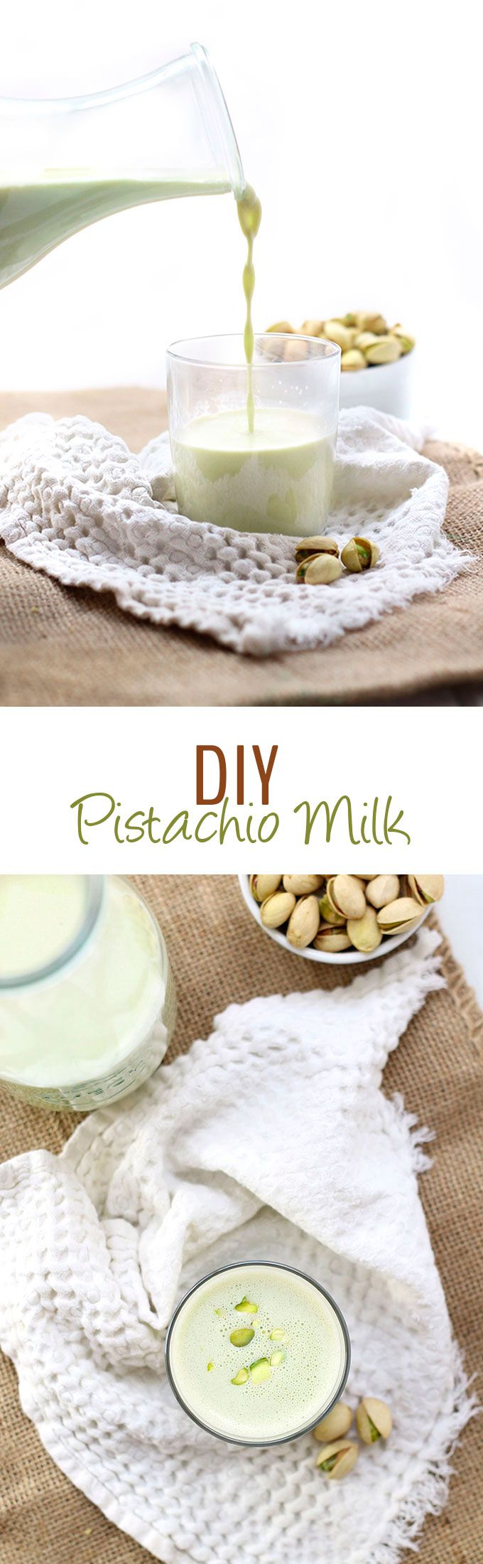 Change up your usual almond milk with this easy DIY Pistachio Milk recipe! Just soak, blend and strain to pistachio milk perfection. I love this recipe with a latte!