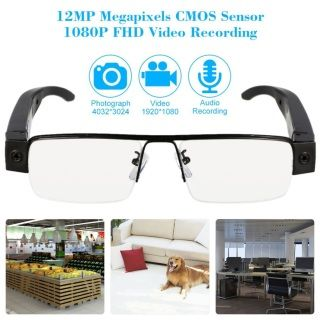 Free shipping world wide ​12.0MP 1080P Mini Eyewear Security Surveillance Camera w/ TF Slot
