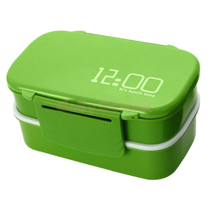 Double Layers Portable Microwave Lunch Box Bento Box Food Containers Green