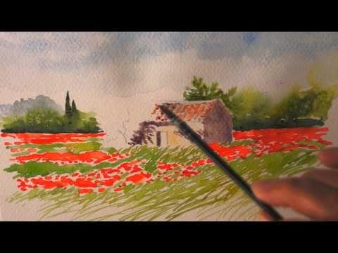 ▶ Aquarelle : Le cabanon aux coquelicots (watercolor) - YouTube