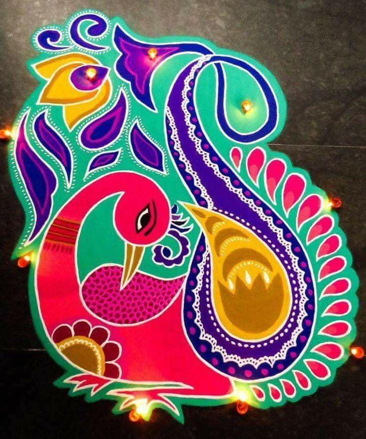 Pin by Beeshma Acharya on Colorful Peacock Rangolis in
