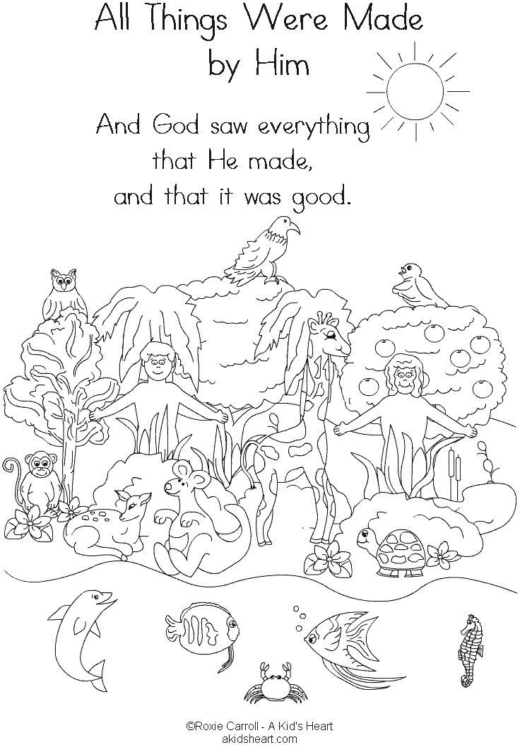 Bible Creation Coloring Pages Printable | childrens church ideas ...