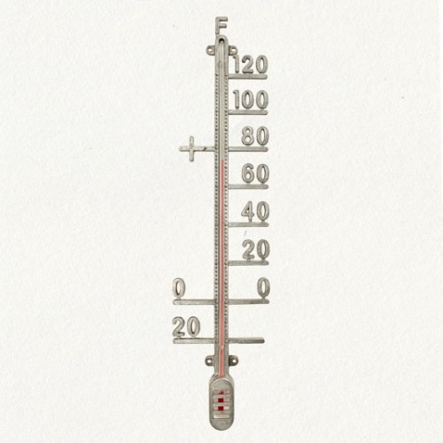 Zinc outdoor thermometer.  Cool