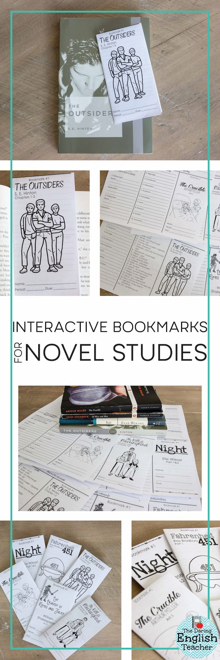 Engage students and increase their understanding with foldable and interactive novel study bookmarks.