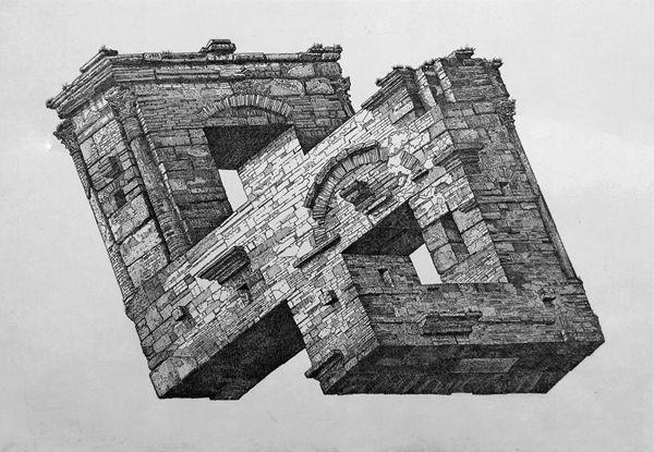 Istvan Orosz - anamorphic impossible drawings