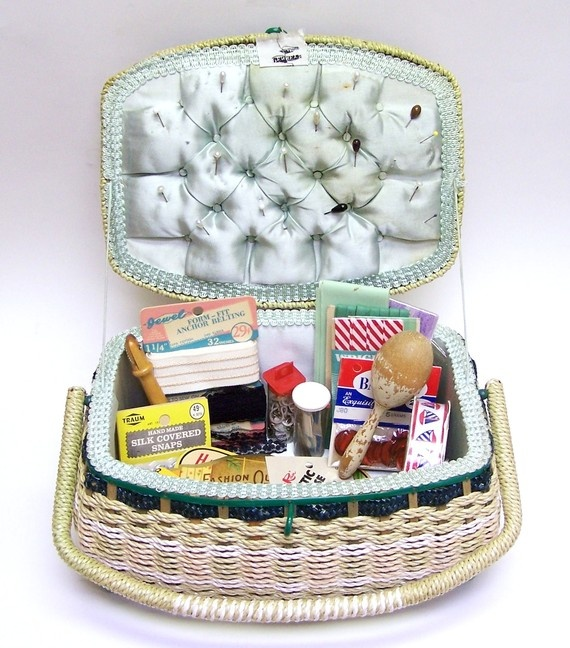Basket Weaving Hobby Lobby : Large vintage jc penneys sewing basket box filled with