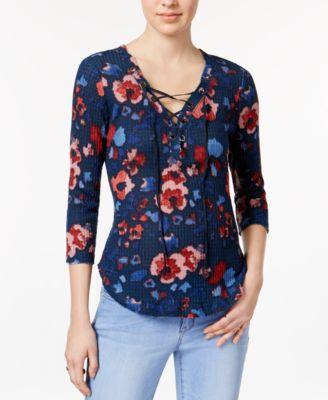WILLIAM RAST Gordon Floral-Print Lace-Up Top | macys.com