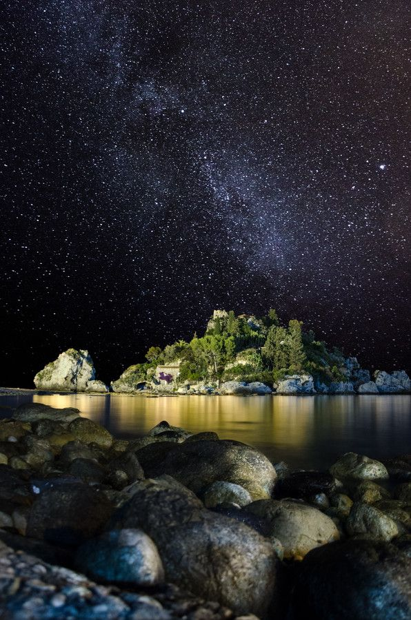 Starry Sky Over The City By The Sea Sicily. Italy Stock Photo ...