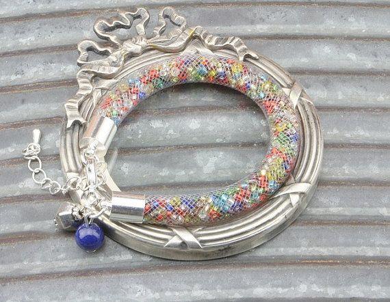 Rainbow Plastic Net Thread Bracelet