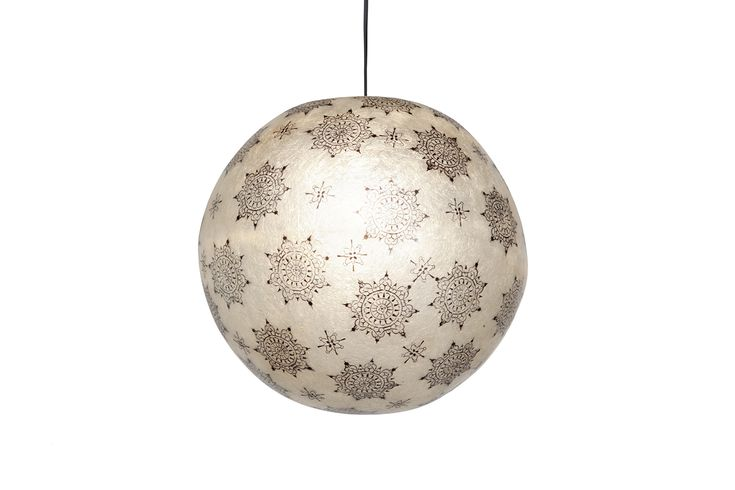 ''Black Lace'' - Κρεμαστό/επιδαπέδιο φωτιστικό  Handmade fiberglass ball lamp  Fiberglass material is robust and lightweight  It can be hang from the ceiling as the central light of the space, or be put on the floor/any surface as a floor/desk lamp  Diameter: 40cm  It comes complete with an E27 bulb holder and you can use as much wattage as you need.