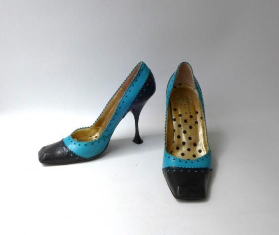 Round She Goes - Market Place - Vintage Paris Designer Christian Lacroix teal and black chiselled toe stilettos sz 39