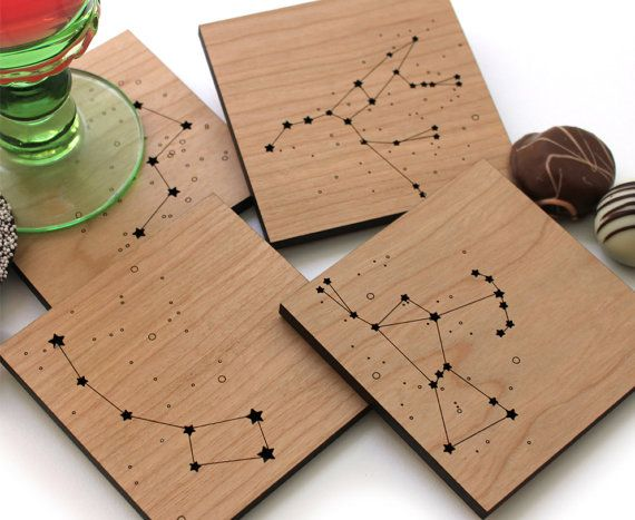 Wood Coasters Star Constellations set of 4 by peppersprouts
