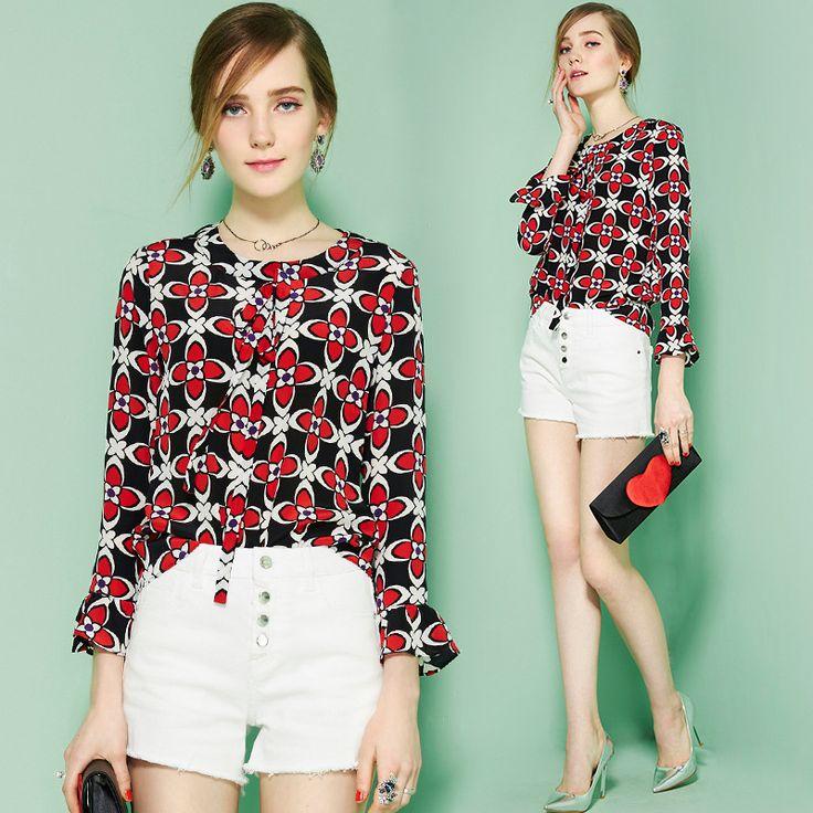 2017 Spring Fashion Silk Women Shirt Long Flare Sleeve Slim Blouse O-Neck Bow Print Floral Tops