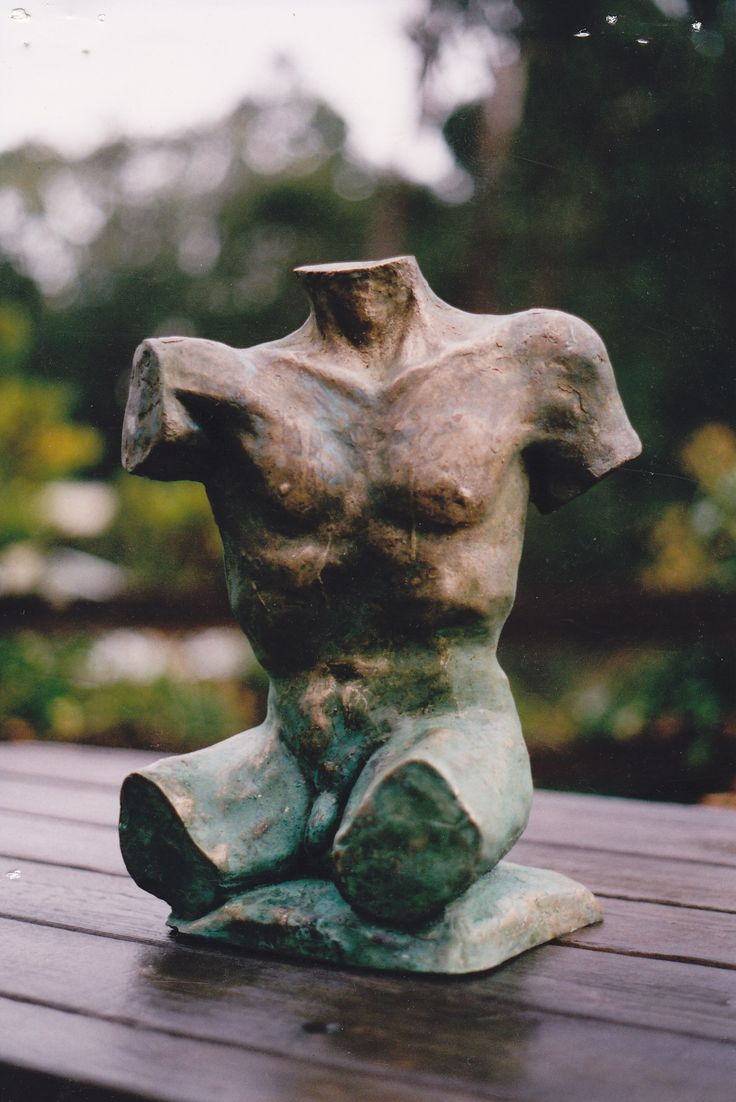 Bronze male torso sculpture