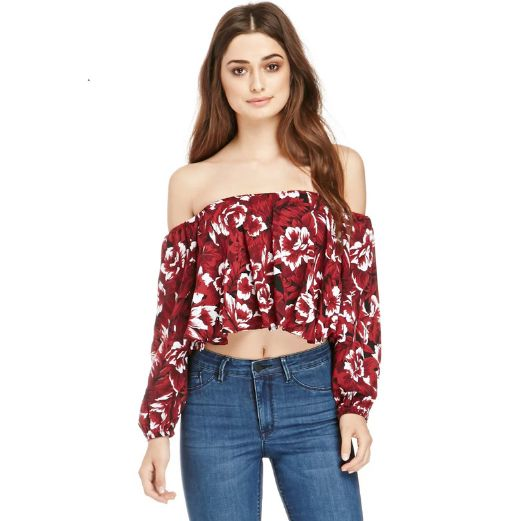 Own this beautiful and perfect Cropped Floral Blouse with Off Shoulder Gypsy Design. Perfect for the summer time and paired with some denim shorts