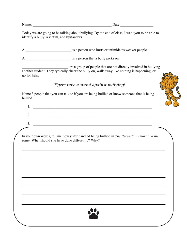 bullying worksheet to go along with the berenstain bears and the bully school counseling. Black Bedroom Furniture Sets. Home Design Ideas