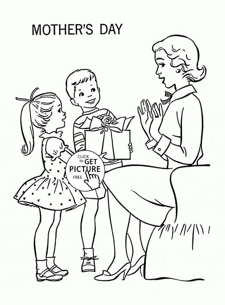 Kids And Happy Mother Mother S Day Coloring Page For