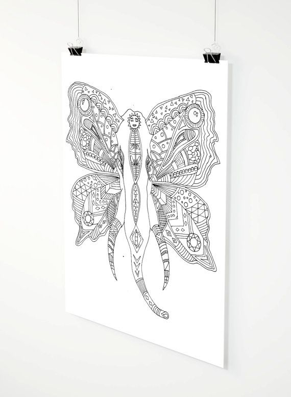 Flying Elephant adult coloring page by ZuskaArt on Etsy