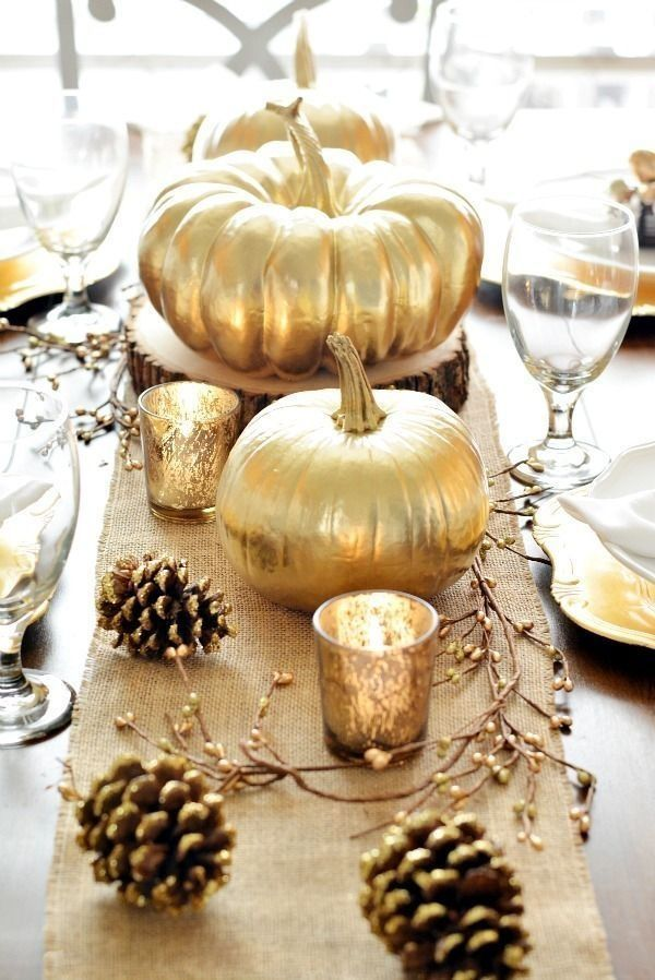 gold - Beautiful fall table #happy thanksgiving ..  #alannarosdesigns