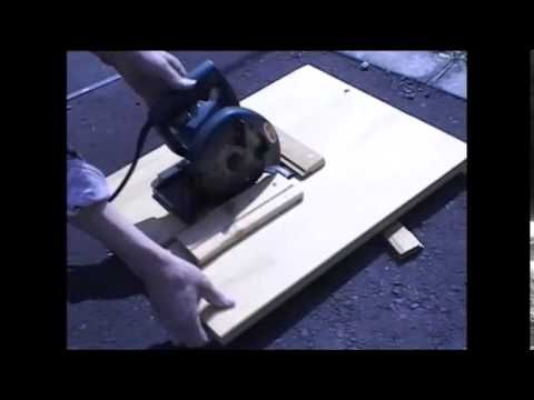 初めて手にした電動丸ノコをテーブルソーとして自作する。 - YouTube