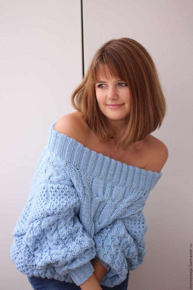 """Купить Свитер в стиле """"Ruban"""" - голубой, вязаный свитер, свитер ручной работы, свитер рубан"""