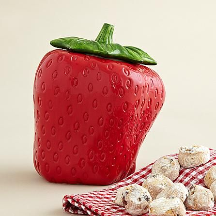 Strawberry Cookie Jar with Cookies and other fruits & gifts at CherryMoonFarms.com