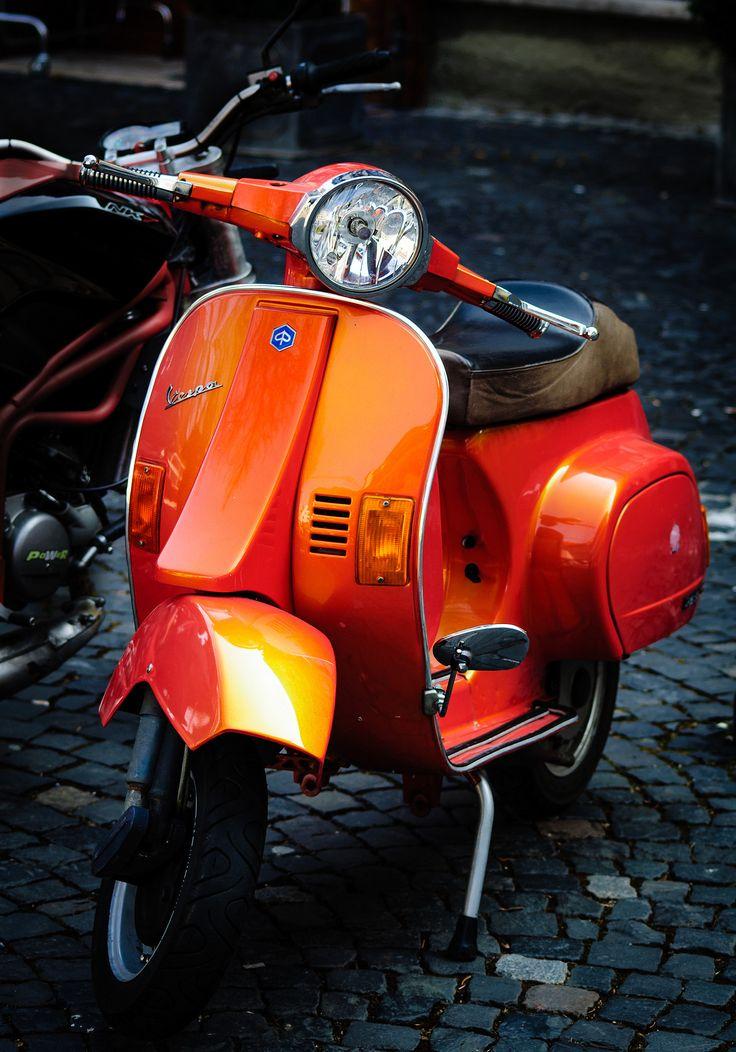Shiny orange Vespa | Mario Traar | Flickr