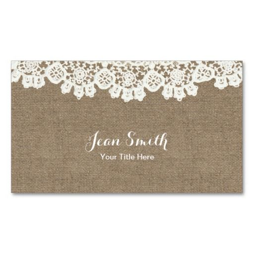 297 best vintage business cards images on pinterest vintage vintage rustic lace burlap event planning craft business card wajeb Images