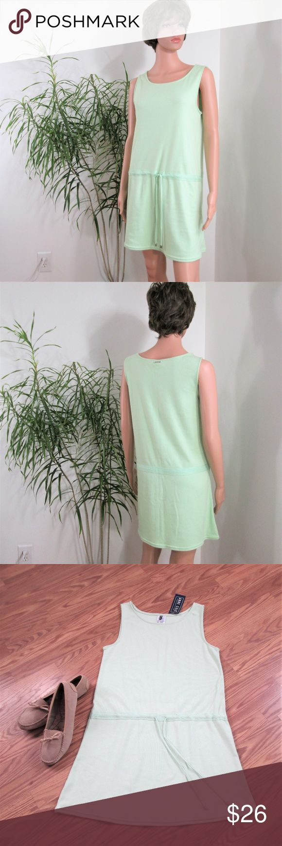 """New! Anne Cole* Athletic Dress / Coverup Soft 100% Cotton jade green sheath dress, drawstring waist is accented with grosgrain ribbon. A summer staple- throw & go!  Measured flat. 18"""" pit to pit. 18"""" waist. 20"""" hip. 33"""" long. above knee on 5' 9'' mani Anne Cole Dresses"""