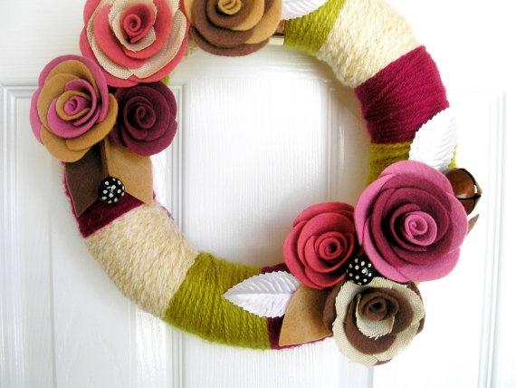 Yarn and Felt Wreath - Aloe, Rose and Cream - The Original Felt and Yarn Wreath(ETSY)