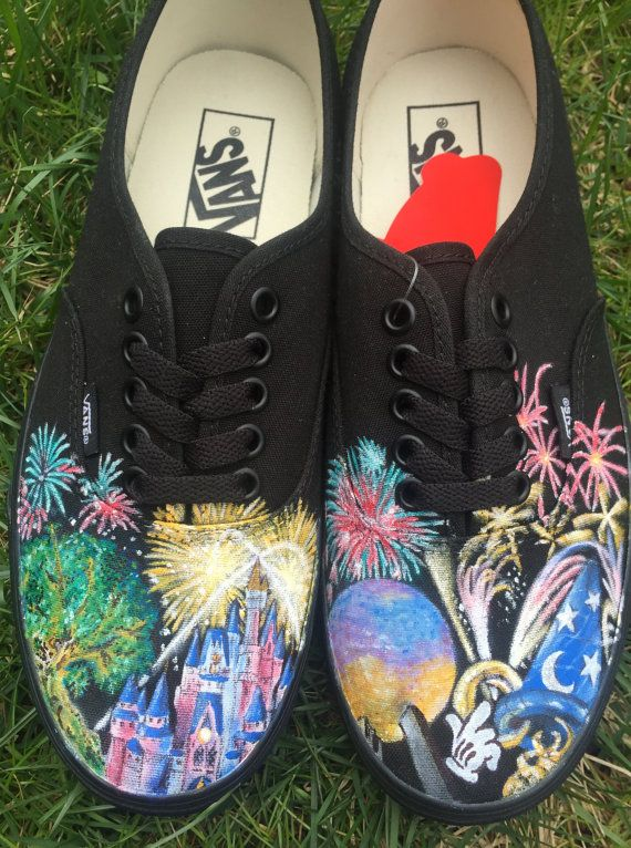 Walt Disney World Four Parks Fireworks Magic Kingdom, Animal Kingdom, Hollywood Studios, & Epcot Custom hand painted Vans Shoes