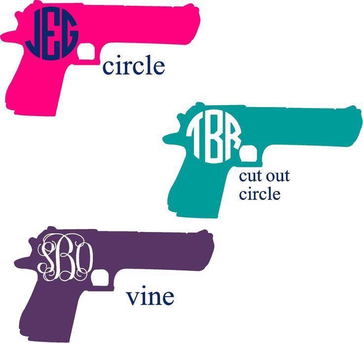Gun monogram decal - Gun lover monogram - NRA - Armed American - Gun Decor - Pistol Monogram - Gun Lover gift - 2nd Amendment by NashSignsAndGraphix on Etsy