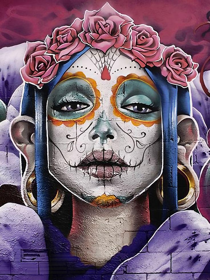 Details About Dia De Los Muertos 5 Panel Canvas Print Wall