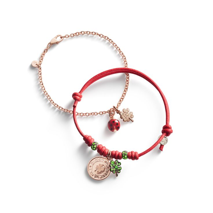 Cord or rose gold bracelet? Anyway, the luck is always with you with Dodo Lucky charms. Combine Four-leaf Clover in brown diamonds or tsavorites, a cutie Ladybug and Coin charms.