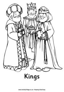Nativity colouring page, three wise men colouring page