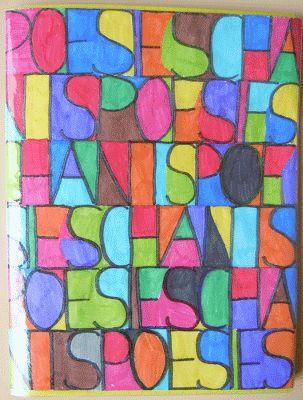 Couverture du cahier de poésies et chants à la manière de Paul Klee
