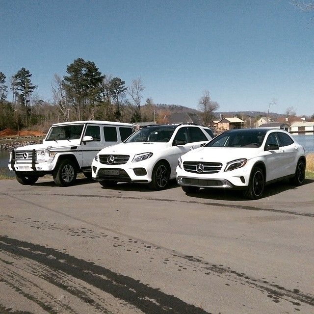 A family of Gs. Mercedes Benz GLA250, GLE and G550 SUV